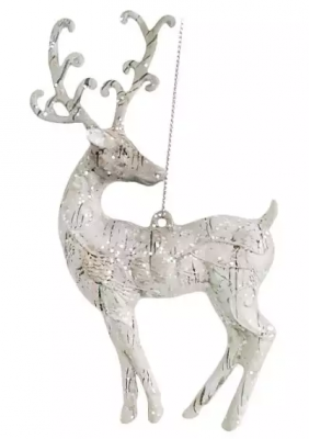 Елочные украшения Новогодняя сказка Олень серебро 15,5 см 1 шт пластмасса, блестки