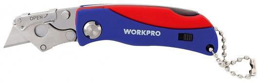 купить Нож WORKPRO W011008 строительный складной мини 105мм нержавеющая сталь с 5 запасными лезвиями по цене 620 рублей