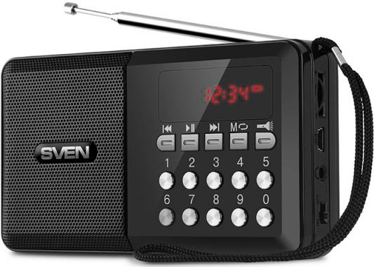 SVEN PS-60, черный (3 Вт, FM-тюнер, USB, microSD, LED-дисплей, фонарь, 3xAA, 600мА*ч) sven easy see 122 dd тв тюнер