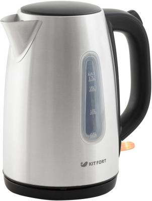 Чайник электрический KITFORT КТ-632 2200 Вт чёрный серебристый 1.7 л металл/пластик чайник first fa 5427 8 bu 2200 вт белый синий 1 7 л пластик