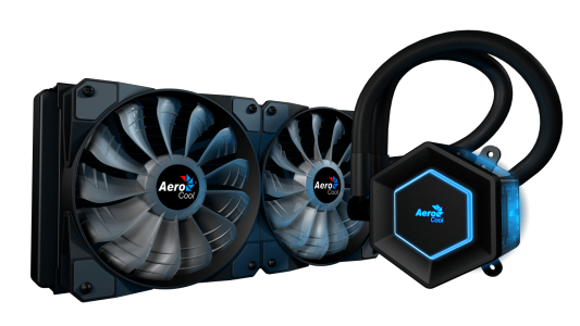 Система жидкостного охлаждения Aerocool [Project 7] P7-L240 , с RGB подсветкой, до 380W, PWM, 600-1800 RPM, 2х12см, Intel : LGA 2066/2011-V3/115X/1366