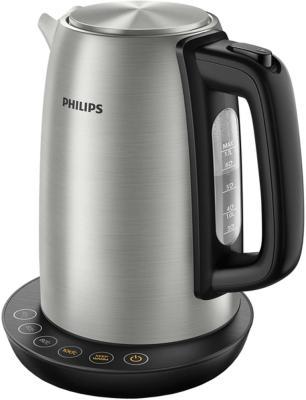 лучшая цена Чайник электрический Philips HD9359/90 2200 Вт серебристый чёрный 1.7 л нержавеющая сталь