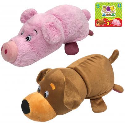Купить Мягкая игрушка Вывернушка 2в1 Собака-Свинья, 35 см, 1toy, разноцветный, искусственный мех, текстиль, Интерактивные мягкие игрушки