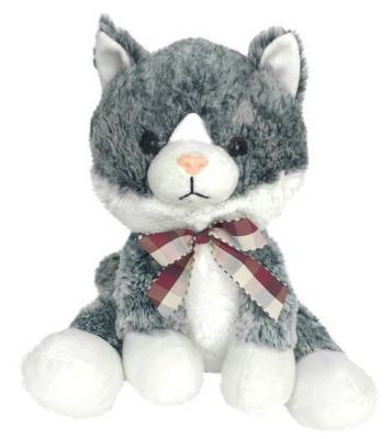 Мягкая игрушка кот Fluffy Family Котенок искусственный мех трикотаж пластмасса наполнитель белый серый 24 см мягкая игрушка котенок fluffy family крошка котенок бел 15 см белый искусственный мех наполнитель