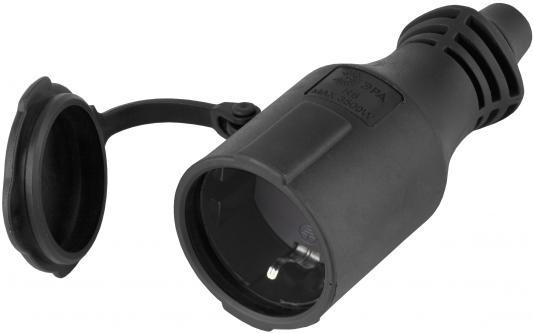 Розетка ЭРА R6(B) Б0019195 кабельная IP44 каучук c/з 16A черная (10/100/3000)
