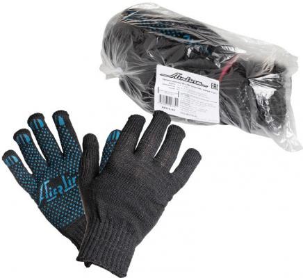 Купить Перчатки AIRLINE AWG-C-03 хб с пвх покрытием черные 5 пар 140т/7.5 класс, ПВХ
