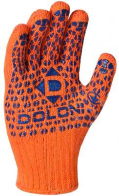 Перчатки DOLONI 584 вязаные, 5-х нитка, с ПВХ, оранжевые, двухсторонние цена