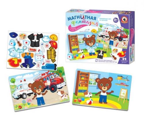 Купить Игра на магнитах Русский Стиль Мишка и его профессии 5407, разноцветный, Мольберты и доски для детей