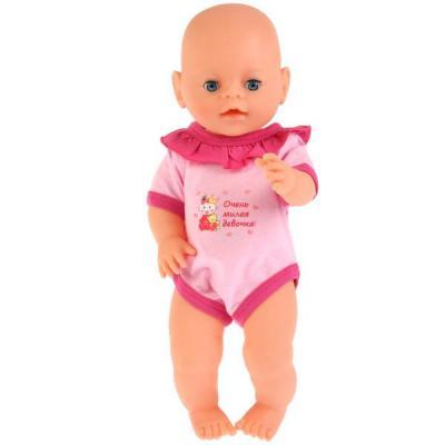"""Одежда для кукол КАРАПУЗ розовый боди """"милая девочка"""""""