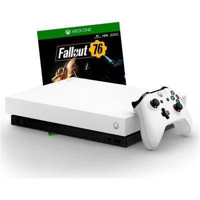 Игровая консоль Microsoft Xbox One X FMP-00058 черный в комплекте: игра: Fallout 76 игра для xbox one microsoft project spark 4ts 00029