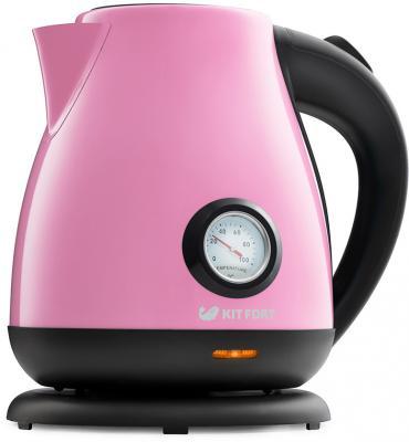 Чайник KITFORT KT-642-1 2200 Вт розовый чёрный 1.7 л металл/пластик чайник zimber zm 10853 2200 вт 1 7 л пластик белый розовый