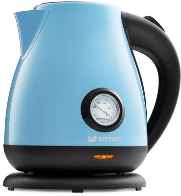 Чайник KITFORT KT-642-2 2200 Вт голубой чёрный 1.7 л металл/пластик цена и фото