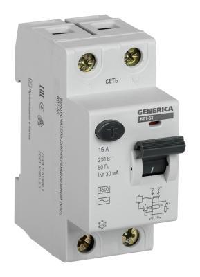 Iek MDV15-2-016-030 УЗО ВД1-63 2Р 16А 30мА GENERICA автоматический выключатель tdm ва47 63 2р 32а sq0218 0013