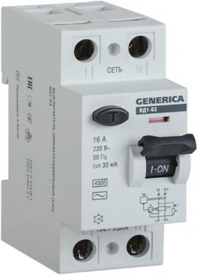 Iek MDV15-2-025-030 УЗО ВД1-63 2Р 25А 30мА GENERICA автоматический выключатель tdm ва47 63 2р 32а sq0218 0013