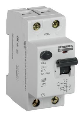 Iek MDV15-2-063-030 УЗО ВД1-63 2Р 63А 30мА GENERICA автоматический выключатель tdm ва47 63 2р 32а sq0218 0013