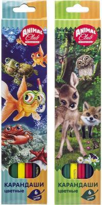 набор карандашей цветных трехгранных action dc comics 12 цв европодвес Набор карандашей цветных ACTION! Animal Club, 6цв., европодвес