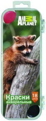 Акварель медовая ANIMAL PLANET, 18цв., пл. коробка, европодвес, без кисти. акварель медовая fancy 8цв пл коробка европодвес без кисти