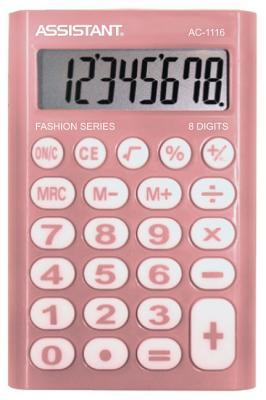 Калькулятор карманный Assistant AC-1116 8-разрядный розовый калькулятор карманный citizen lc 110n 8 разрядный розовый