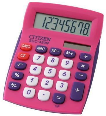 Калькулятор настольный Citizen SDC-450NPK-CFS 8-разрядный розовый калькулятор citizen sdc 011s 8 разрядный