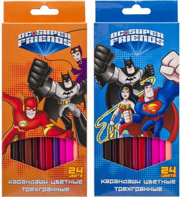 набор карандашей цветных трехгранных action dc comics 12 цв европодвес Набор карандашей цветных трехгранных, ACTION! DC Comics!, 24 цв, европодвес
