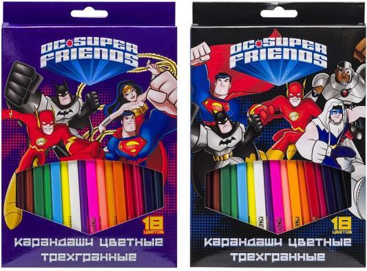 Набор карандашей цветных трехгранных, ACTION! DC Comics, 18 цв, европодвес набор трехгранных карандашей spider man 3 шт