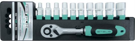 Купить Набор головок STELS 14125 набор торцевых головок 1/4 головки 4 - 13мм с трещот. ключом crv 11пр., инструментальная сталь
