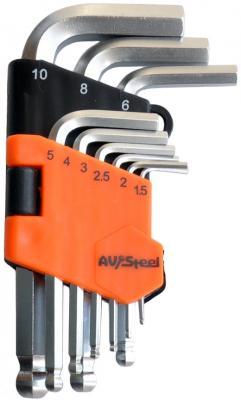 Набор ключей AVSTEEL AV-364109 шестигранных с шаром 9 предм. набор ключей шестигранных force 10 предметов 1 27 10мм удлиненных с шаром 5102lb