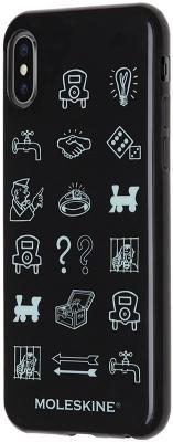 Накладка Moleskine Monopoly Icons для iPhone X чёрный рисунок MO2CHPXLEMOB чехол клип кейс moleskine для apple iphone x iphxxx monopoly icons черный рисунок mo2chpxlemob