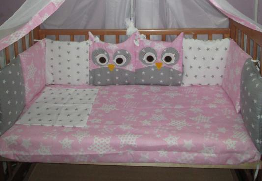 Комплект в кроватку Incanto 10 предметов Совята розовый цена