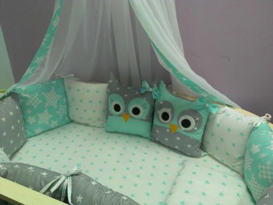 Комплект в кроватку Incanto 10 предметов Совята зеленый цена