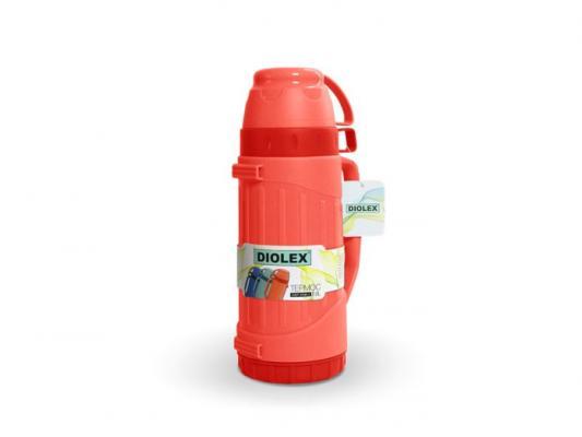 600DXP-R Термос Diolex пластиковый со стеклянной колбой 600 мл (красный)