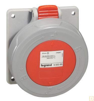 Розетка встр. 16А 3К+H+З 380В IP67 кабельная розетка ip67 16а 3р ре 380в tdm sq0611 0025