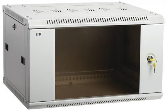 19 настенный шкаф 6U 600x450, стекл. передняя дверь, серый (плоск. упак)