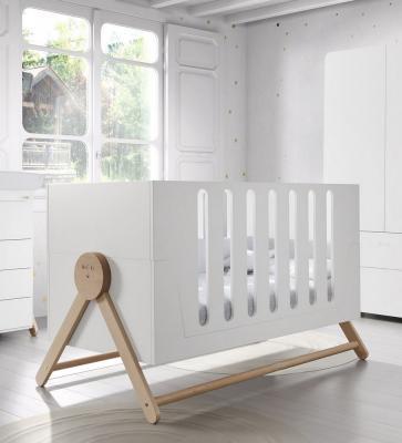 Купить Кроватка 140x70 Micuna Swing Big(White/Scandinavian), белый, массив бука / МДФ, Кроватки без укачивания