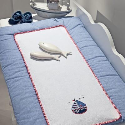 Купить Покрывало-матрасик для пеленания 50х80см Funnababy Marine, голубой, Матрасики для пеленания