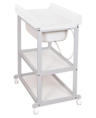 Стол пеленальный с ванночкой Ceba Baby Laura Caro (grey/матрасик white), серый, дерево / МДФ, Столы для пеленания  - купить со скидкой