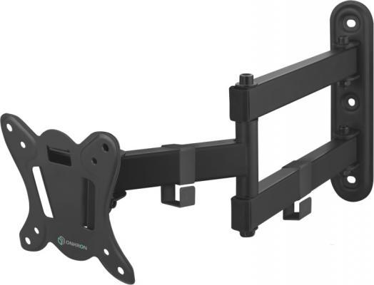 Кронштейн ONKRON/ 17-27'' макс 100*100 мм, 2 колена, наклон -+ 8?, поворот: 180°, от стены 65-408 мм, макс вес 25кг, черный кронштейн onkron 17 27