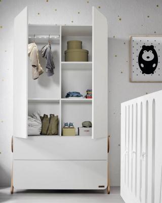 Купить Шкаф Micuna Swing A-1835(white/scandinavian), белый, МДФ, Двухстворчатые