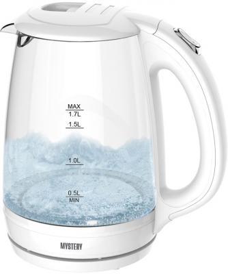 Чайник MYSTERY MEK-1642, 1,7л.. 1800Вт, стекло, черный чайник mystery mek 1642 1800 вт белый 1 7 л стекло
