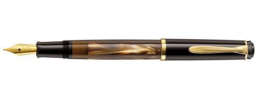 Ручка перьевая Pelikan Elegance Classic M200 (808873) коричневый мрамор EF перо сталь нержавеющая/позолота подар.кор. ручка перьевая pelikan elegance pura p40 954966 синий серебристый ef перо сталь нержавеющая подар кор