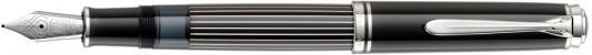 Ручка перьевая Pelikan Souveraen M 815 SE Metal Striped (809252) черный F перо золото 18K с родиевым покрытием карт.уп. перьевая ручка pelikan toledo m 900 f 924597 серебро 925 пробы стерлинговое с позолотой золото 18k с родиевым покрытием