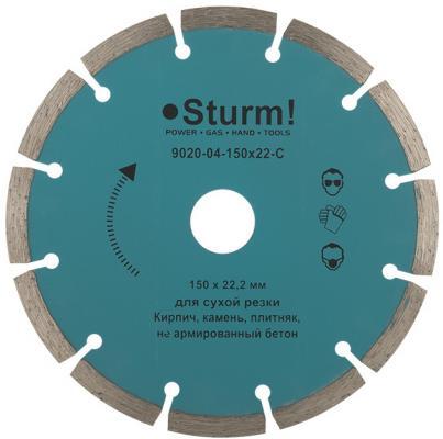 Круг алмазный STURM! 9020-04-150x22-C сухая резка сегментный 150мм диск алмазный отрезной сегментный 180х22 2мм сухая резка вихрь