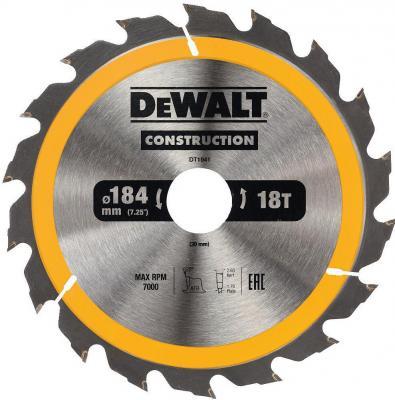 Картинка для Пильный диск DEWALT DT1941-QZ  CONSTRUCTION п/дер. с гвоздями 184/30 18 ATB +20°