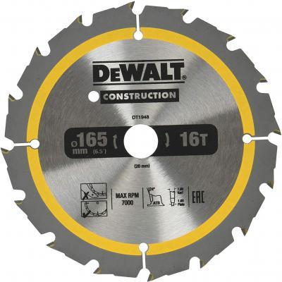 Пильный диск DEWALT DT1948-QZ CONSTRUCTION п/дер. с гвоздями 165/20 16 ATB +24° пильный диск construct 305х30 мм 48 atb dewalt dt1959