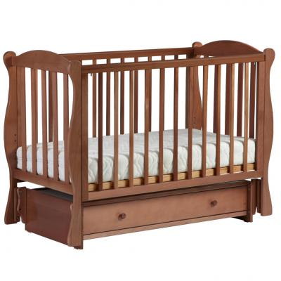 Купить Кровать с маятником Кубаночка-7 БИ 57 (орех светлый), светлый орех, бук, Кроватки с маятником