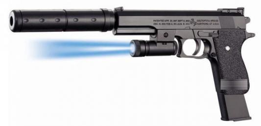 Пистолет световой Shantou Gepai ПИСТОЛЕТ (П) С ФОНАРИКОМ И ГЛУШИТЕЛЕМ, С ПУЛЬКАМИ K2011-B черный пистолет edison с мишенями и пульками western line west colt 28 см пульки