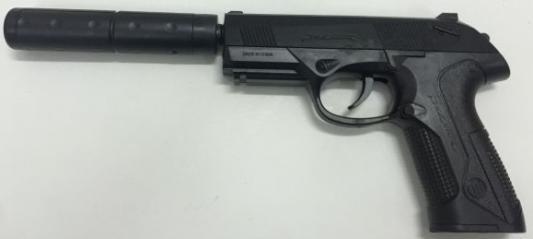 Пистолет Shantou Gepai ПИСТОЛЕТ (П) ЧЕРНЫЙ С ГЛУШИТЕЛЕМ 669-1 черный пистолет shantou gepai p168 черный 1b00828