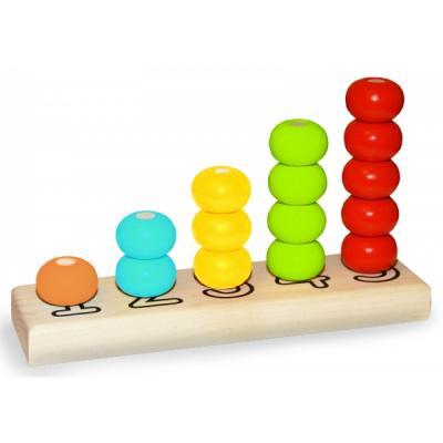 Купить ПИРАМИДКА ДЕРЕВЯННАЯ СЧЕТЫ ДИАМЕТР КОЛЕЦ 30ММ ОКРАШЕННАЯ 5 ЦВЕТОВ 15 ДЕТАЛЕЙ в кор.24шт, alatoys, Развивающие игрушки из дерева