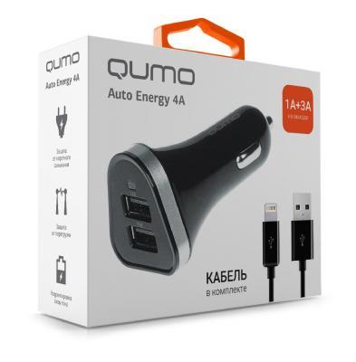 Автомобильное зарядное устройство QUMO Auto Energy 8-pin Lightning 1A/3A черный 20738