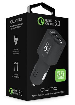 Автомобильное зарядное устройство QUMO Dual Quick 2.4А черный 23764 автомобильное зарядное устройство qumo dual quick charge 3 0 charger 0050 полная поддержка quick charge 3 0 на обоих портах черный